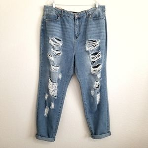 NWT Forever 21 High Rise Boyfriend Jeans Size 18
